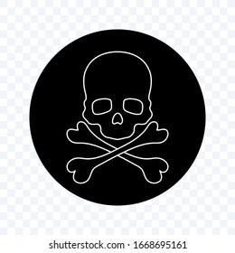 Skull and Crossbones Icon on blank Background. Poison Sign and Symbol for Design. vector illustration