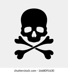 Skull and Crossbones Icon on White Background. Poison Sign and Symbol for Design. vector illustration