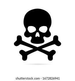 Skull and crossbones icon on a white background. Death symbol, danger or poison icon flat style for applications and websites