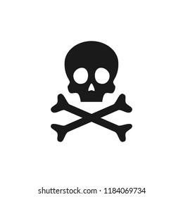 Skull and crossbones icon. Poison warning sign. Vector illustration