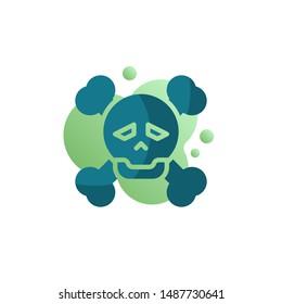 Skull and crossbones icon vector, filled flat sign, bicolor pictogram, green colors. Danger symbol, logo illustration