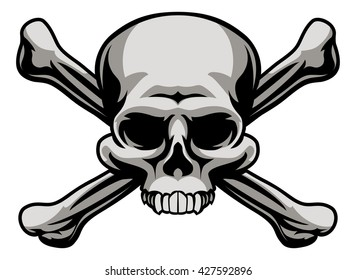 A skull and crossbones illustration like a pirates jolly roger sign or poison warning icon