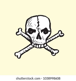 Skull and crossbones, isolated hand drawn vector outline doodle illustration?