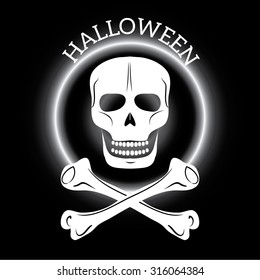 Skull and crossbones,  isolated over black background.  Vector illustration.