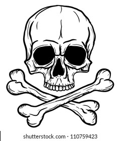 Skull and Crossbones isolated over white background. Vector illustration eps8.
