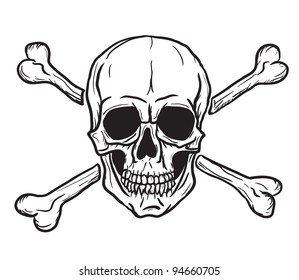 Skull and Crossbones isolated over white background. Vector eps8. Freehand drawing