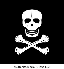 Skull and crossbones - a mark of the danger warning,  isolated over black background.  Vector illustration.
