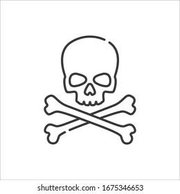 skull crossbones minimalist vector line icon