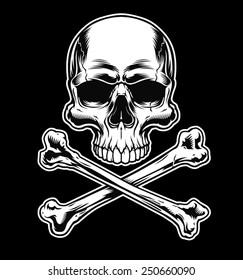 Skull and crossbones on black