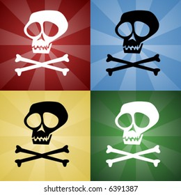 Skull and Crossbones on colored backgrounds
