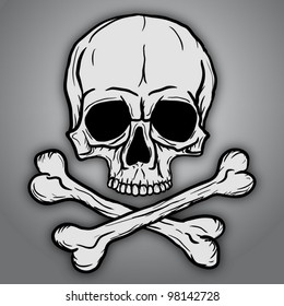Skull and Crossbones over gray background. Vector EPS10.