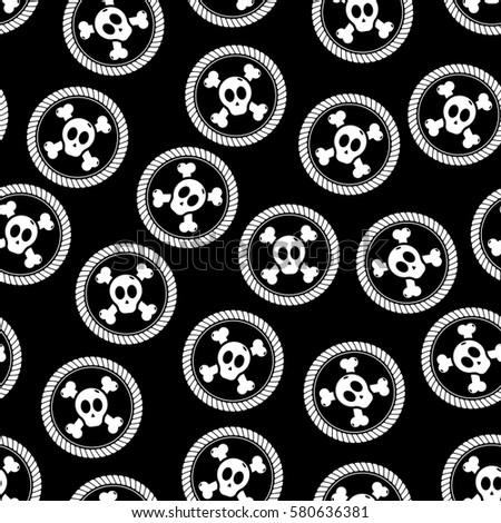 Skull Crossbones Pattern Background Pirate Theme Stock Vector