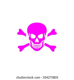 Skull and crossbones. Pink flat icon. Simple vector illustration pictogram on white background