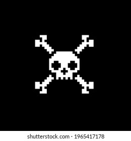 Skull crossbones pixel art style icon, isolated abstract vector illustration. Design for stickers, logo, web and mobile app. Print for clothes.