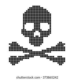 Skull and crossbones pixels