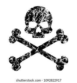 The skull and crossbones scratched on an isolated white background. Worn skull icon. The symbol of pirates. Vector template for your design.