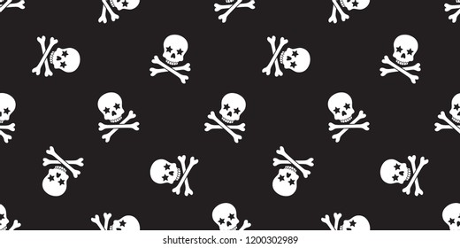 Skull Crossbones seamless pattern Halloween vector pirate bone star poison Ghost Christ cross scarf isolated tile background illustration repeat wallpaper black