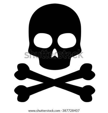 Skull Crossbones Symbol White Background Vector Stock Vector
