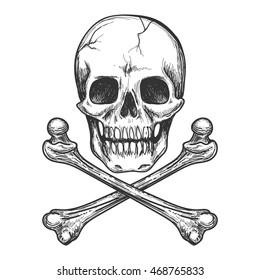 Skull and crossbones for tattoo or biker jacket vector illustration