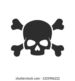 Skull with crossbones vector icon