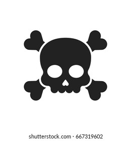 Skull and crossbones vector icon