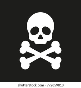 Skull and crossbones. Vector icon