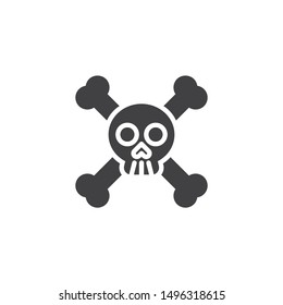 Skull and Crossbones vector icon. filled flat sign for mobile concept and web design. Crossbones, death skull glyph icon. Symbol, logo illustration. Vector graphics