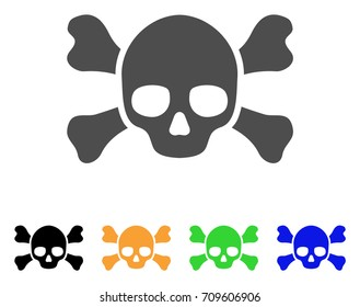 Skull Crossbones vector icon. Style is a flat graphic symbol in gray, black, yellow, blue, green color variants. Designed for web and mobile apps.