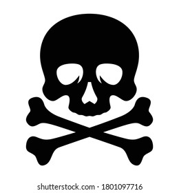 Skull and crossbones vector illustration on white background