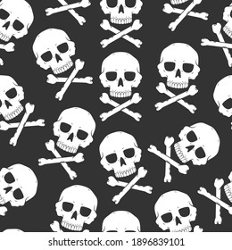 Skull and crossbones vector seamless pattern for Halloween. Background for wallpaper, wrapping, packing, and backdrop.