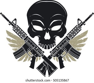 skull with crossed assault rifles and wings