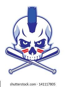 skull and crossed baseball bat
