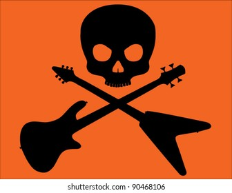 Skull and Crossed Bass and Flying V Guitars on Bright Orange Background
