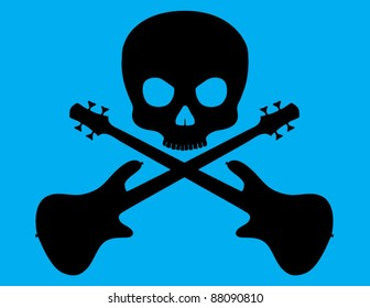 Skull and Crossed Bass Guitar on Blue Background