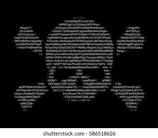 Skull and Crossed Bones ASCII Art. Danger / Piracy Sign of Text Characters and Numbers. Hacking, Ddos-attack, Spam, Computer Virus Concept. Vector Illustration.