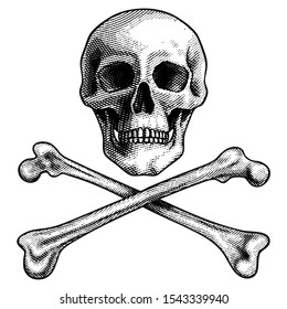 Skull with crossed bones. Pirate symbol Jolly Roger sketch engraving vector illustration. Scratch board style imitation. Hand drawn image