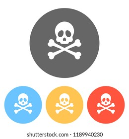 Skull and crossed bones. Simple icon. Set of white icons on colored circles