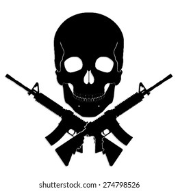 skull with crossed guns/ black white vector illustration