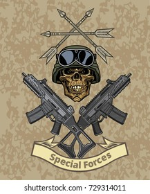 Skull, crossed guns.  Combat