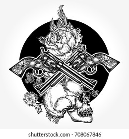Skull, crossed guns, rose, tattoo and t-shirt design. Symbol of the wild west, robber, crime