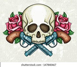 Skull, crossed guns and roses