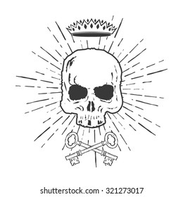 Skull with Crossed Keys and Crown