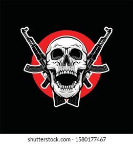 skull with crossed machine guns, Design element for logo, poster, card, banner, emblem, t shirt. Vector illustration