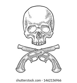 Skull and crossed pirate flintlock antique pistol. Vintage vector black engraving illustration. Isolated on white background. Hand drawn design element for poster, label, tattoo
