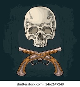 Skull and crossed pirate flintlock antique pistol. Vintage vector color and monochrome engraving illustration. Isolated on black background. Hand drawn design element for poster, label, tattoo