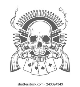 skull, crossed revolvers, cards and cartridges. vector illustration