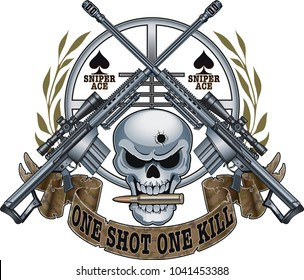 skull with crossed sniper rifles, scope sight and banner