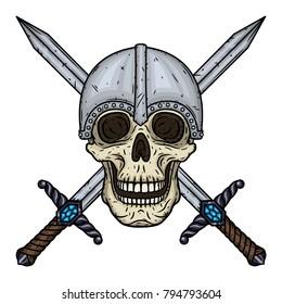 Skull  with crossed swords and helmet. Cartoon skull. Vectorhand draw illustration.