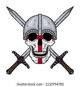 Skull  with crossed swords, helmet and England flag. Cartoon skull.