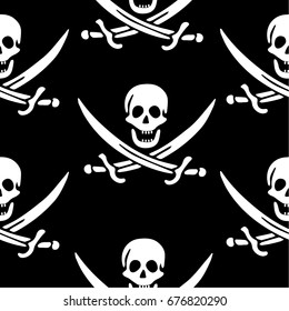 """Skull and Crossed Swords Seamless Pattern. Halloween design element or classic """"Jolly Roger"""" pirate flag."""